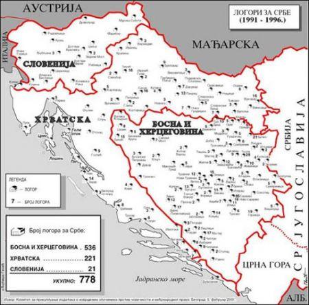 Мапа логора за Србе у западном делу СФРЈ 1990-их