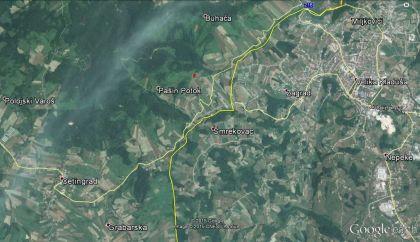 Slika 2. Mehino stanje obeleženo crvenim znakom prema lokaciji ucrtanoj na prethodnoj mapi JNA