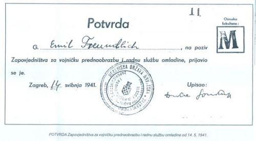 ПОТВРДА Заповједништва за војничку преднаобразбу и радну службу омладине од 14.5.1941.