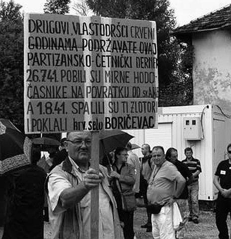 Prosvjed protiv obilježavanja Dana ustanka u Srbu (FOTO: SNV)