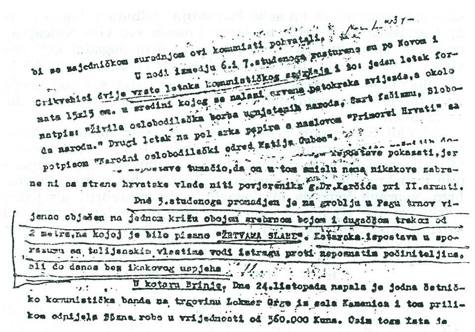 Faksimil periodičnog izvještaja iz studenog 1941. god. tzv. Velike župe Vinodol i Podgorje, kojeg ustaški tzv. veliki župan, Sušić, dostavlja ustaškom Ravnateljstvu za unutrašnje poslove NDH obaveštavajući o novim događajima u proteklom periodu.