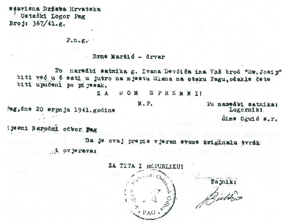 Faksimil naredbe logornika Oguića brodaru Brni Maržiću o polasku po »pijesak«.