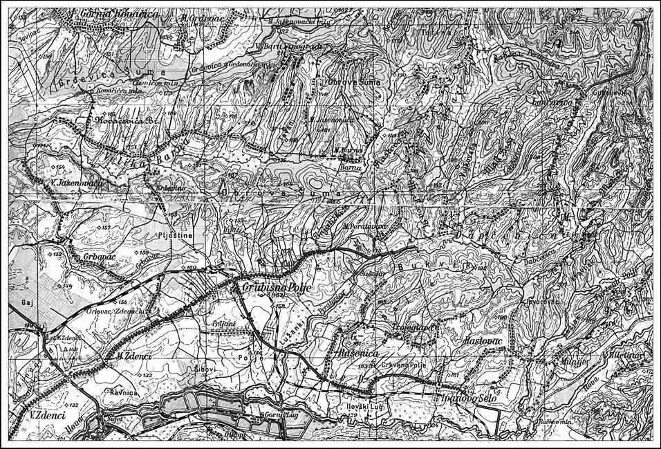 Geografka karta Grubišnog Polja i okoline