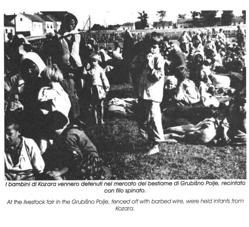Stočna pijaca u Grubišnom Polju, okružena bodljikavom žicom, gdje su držane Kozarčanke sa djecom