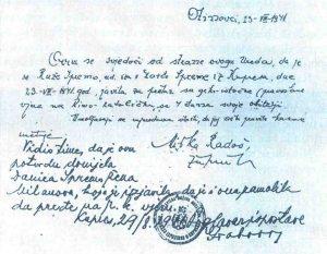 Потврда неког жупника из околине Купреса којом овјерава да је нека удовица са четворо чланова породице из православне прешла у католичку вјеру