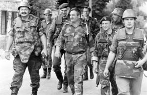 Припадиници Првог краjишког корпуса под вођством пуковника Новице Симића улазе у Модричу 1992. године