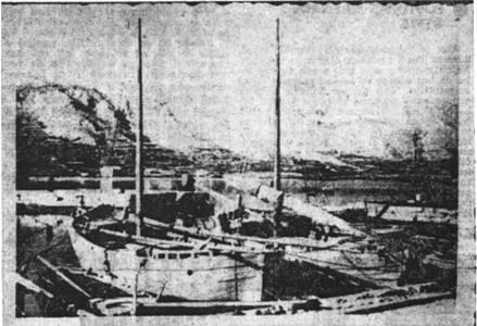Бродице браће Маржића из Пага. Таквим и сличним пловилима усташе су пребацивале заточенике из Карлобага до Слане и Метаjне.