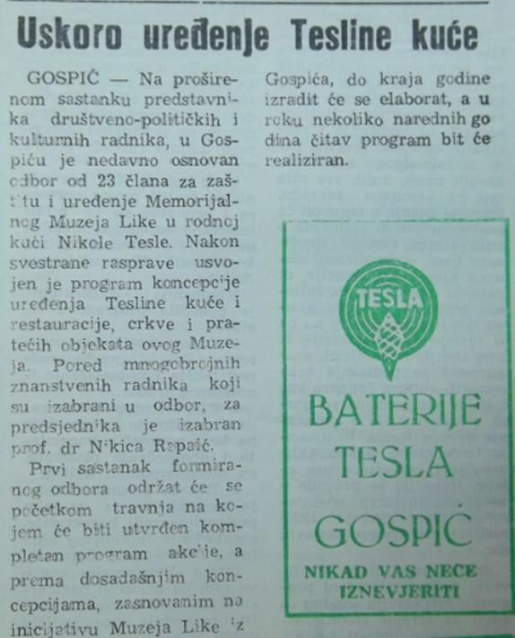 """Исјечак из Личких новина из 1970. године, у којем је обећање о поправци цркве. Ту је и слоган некадашње творнице батерија из Госпића """"Никад вас неће изневјерити""""."""