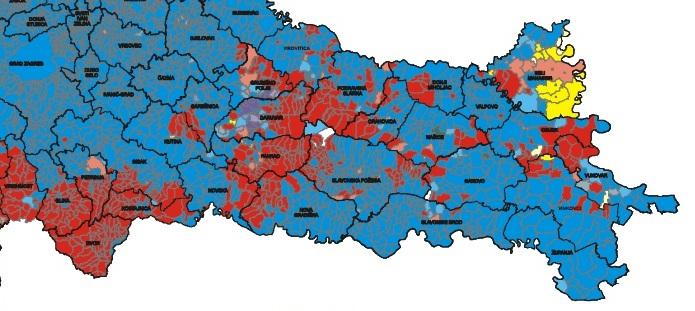 Етничка карта Славоније пре етничког чишћења Западне Славоније од стране хрватских паравојних формација 1991