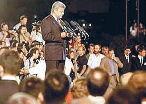 Milan Kučan se obraća Slovencima 25. juna 1991. u Ljubljani