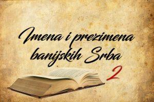 Имена и презимена банијских Срба (2)