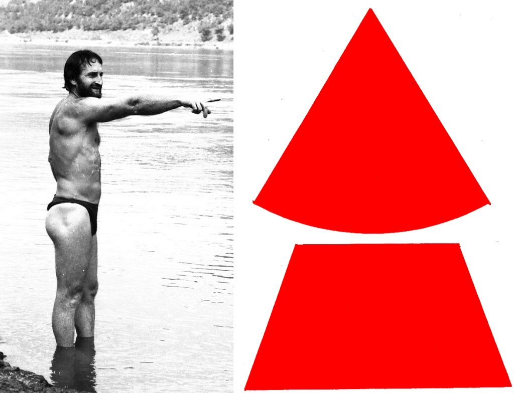 Аутор 1970. показује где је гротло Лепенског вира пре него што уплива у њега да би доказао да вир користан а не опасан