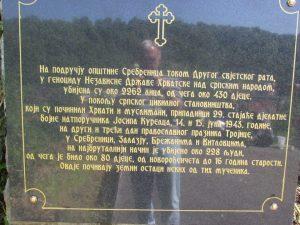 Спомен плоча за више од 250 Срба које су убиле усташе други и трећи дан Тројчиндана 1943. године Фото: СРНА