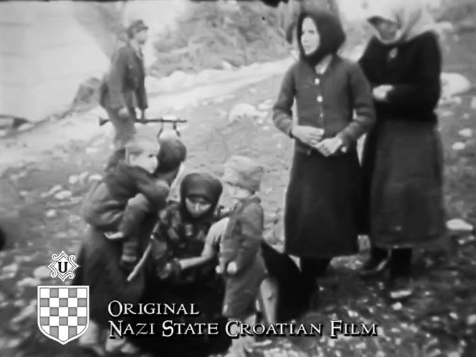 """Заробљени жене и деца (Принтскрин из филма """"Од ратног дописника Курта Нехера"""")"""