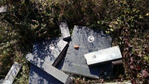 На мјесном православном гробњу у селу Караула, код Какња, оскрнављено је више надгробних споменика