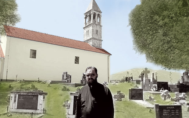 Стеван Јаблан на православном гробљу у селу Риђани