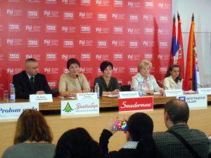 Чланице Удружењa силованих жена и жена жртава Републике Српске одржале су конференцију за новинаре у прес центру УНС-а у Београду.