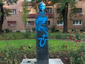 Усташки симболи на бисти Иве лоле рибара у Загребу Фото: РТС