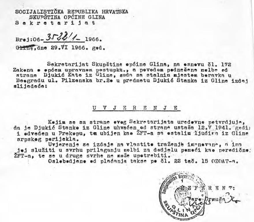 Uvjerenje Skupštine općine Glina iz 1966. o proglašenju mrtvim Đukić Stanka