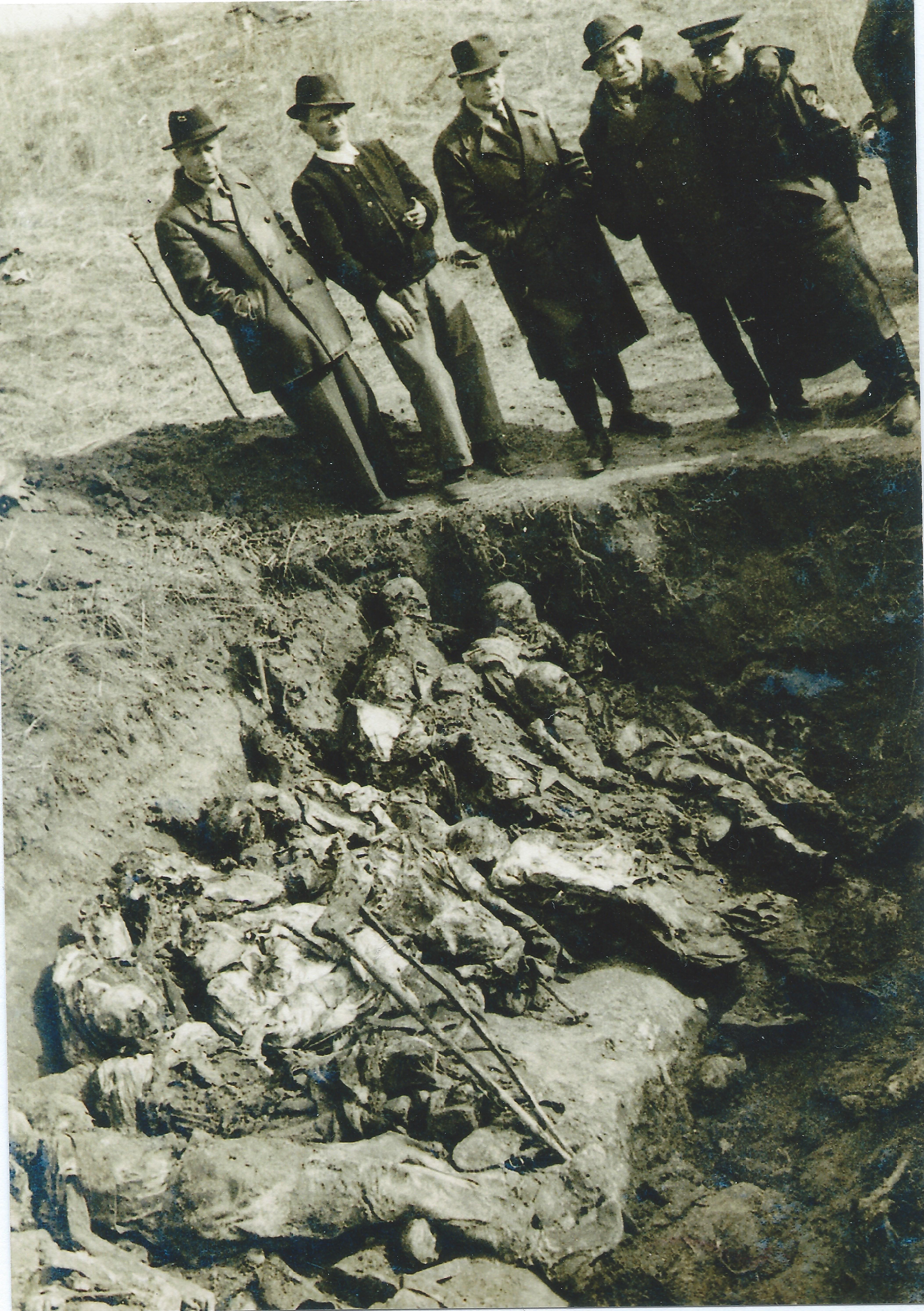 Anketna komisija za utvrđivanje zločina u logoru Zemun (Sajmište), kraj 1944. ili početak 1945. Jedna od grobnica (verovatno Bežanija). Iz zaostavštine dr Mirka Vlajkovića.