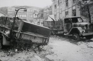 Napad na kolonu JNA u Dobrovoljačkoj ulici u Sarajevu Foto Tanjug