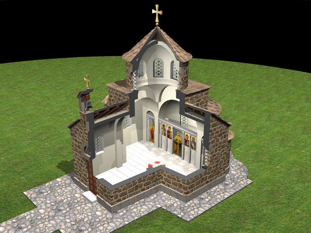 Изглед будуће православне Капеле код Шаранове јаме на Велебиту