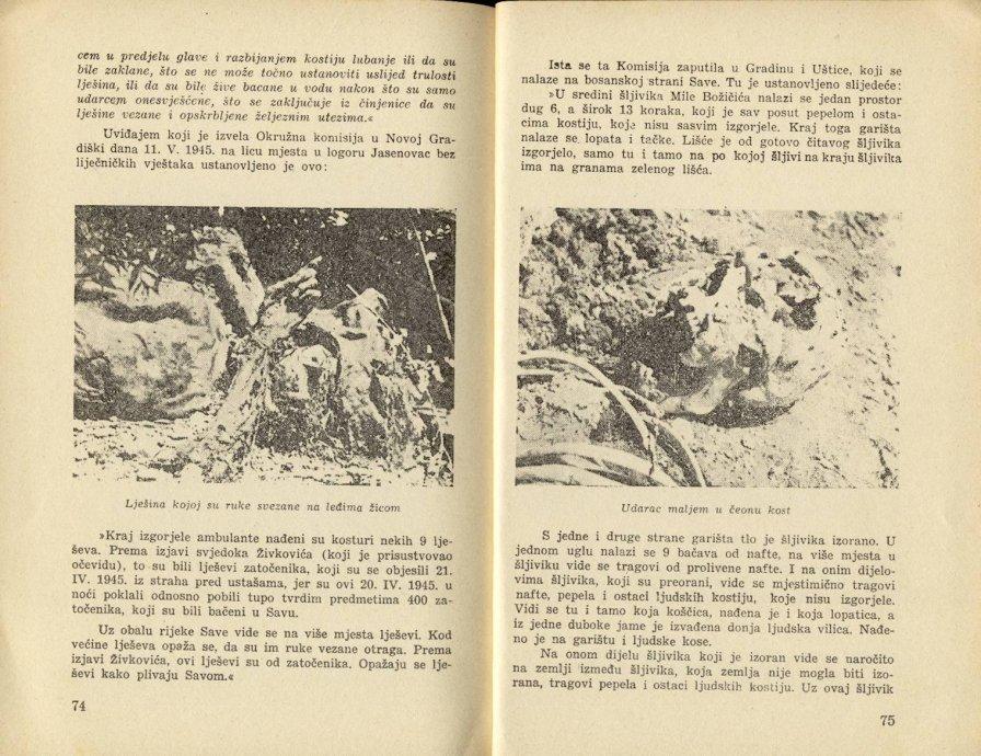 """""""Zločini u logoru Jasenovac"""" - Stranice knjige 74-75."""