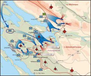 Карта хрв. агресије на Равне Котаре 1993.