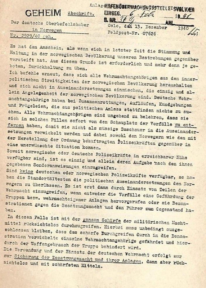 Faksimil prve stranice pisma nacističkog generala Nikolausa fon Falkenhorsta iz publikacije koju je objavila britanska vlada, iz Nacionalne biblioteke Izraela. © FOTO : THE BRITISH GOVERNMENT / NATIONAL LIBRARY OF ISRAEL