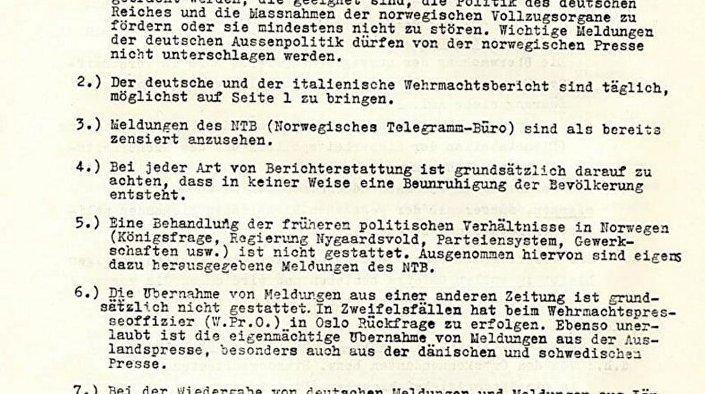 Faksimil dokumenta nacističke Nemačke kojim se daju smernice za uređivanje norveške štampe. © FOTO : NATIONAL LIBRARY OF ISRAEL