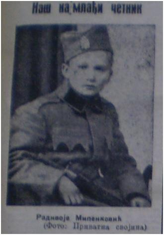"""Dečak izbeglica 15-godišnji Radivoje Milenković, pripadnik poljske straže u Čumićima kod Kragujevca – """"Obnova"""", 30. jun 1942. str. 5"""