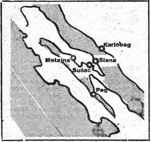 Skica područja na kojem su ustaše organizirali koncentracioni logor – u ljeto 1941. godine. Internirci su transportirani od Gospića do Karlobaga, a zatim brodovima prebacivani do SLANE i METAJNE na otoku Pagu.