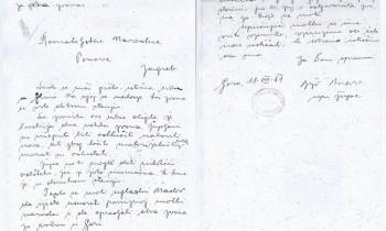 Dopis upravitelja rimokatoličke župe Gora Bože Pavlova Državnom ravnateljstvu za Ponovu u Zagrebu od 18. kolovoza 1941.