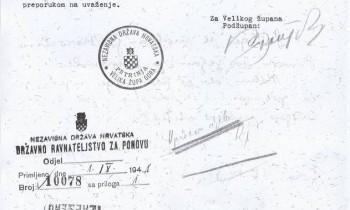 Dopis podžupana Velike župe Gora u Petrinji Jose Rožankovića Državnom ravnateljstvu za Ponovu u Zagrebu od 27. kolovoza 1941.