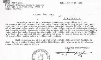Dopis kotarskog predstojnika u Glini Dragutina Impera Velikoj župi Gora u Petrinji od 2. rujna 1941.
