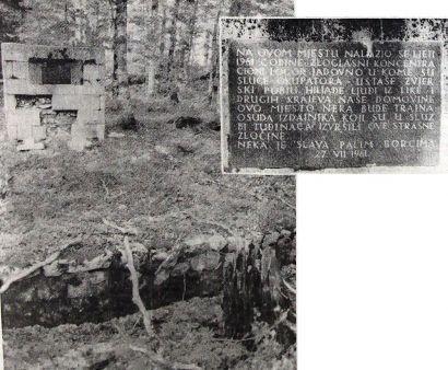 1. Пре двадесет девет година ова јама пред улазом у логор Јадовно забетонирана је и подигнут овај споменик. Натпис на њему скривен је од пролазника, јер пут пролази иза њега...2.Текст спомен-плоче на запуштеном споменику пред некадашњим логором Јадовно