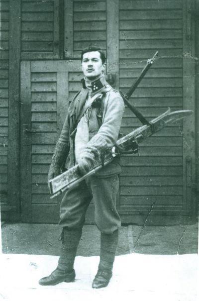 Simo Budimir kao pripadnik skijaškog odreda austrijske vojske