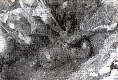 Dead body of adult male person exhumated from the mass grave on the island of Pag in Croatia. <em>Trattamento degli Italiani da parte Jugoslava dopo l`8. settembre 1943 </em>(Editore Palladino), str. 150-b.