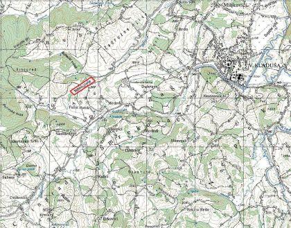 Slika 1. Mehino stanje na topografskoj mapi JNA razmere 1:25 000