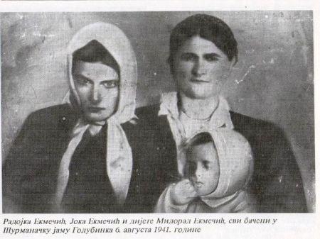 Joka Ekmečić sa djecom Radojkom i Miloradom, svi ubijeni u šurmanačkoj jami