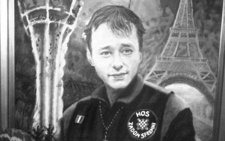 Portret nestalog francuskog dobrovoljca sa simbolima NDH