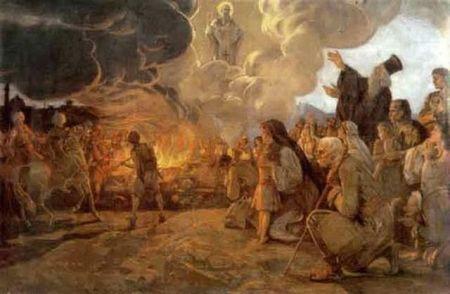 Урош Предић: Спаљивање моштиjу Светог Саве, уље на платну