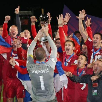Reprezentativci Srbije slave pobjedu nad Brazilom