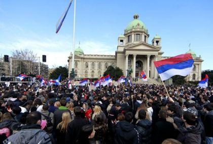Srpski studenti ispred Narodne skupštine Srbije u Beogradu