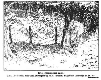 Drawing of the rests of the camp Jadovno on 26 July 1947 by Kosta J. Popović from Novi Sad, son of killed Dr. Jovan Popović from Sremski Karlovci. Đuro Zatezalo, <em>Jadovno </em>– <em>kompleks ustaških logora 1941</em>, Beograd 2007, book I, pp. 276.