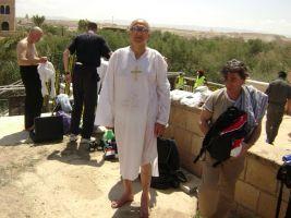Jerusalim, Lazar Blagojević u haljini na kupanju u rijeci Jordan