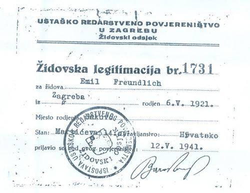 ŽIDOVSKA LEGITIMACIJA br. 1731 izdana od Ispostave ustaškog redarstvenog povjereništva - Židovski odsjek
