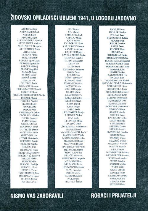 Spomen ploča jevrejskim omladincima ubijenim 1941. u logoru Jadovno