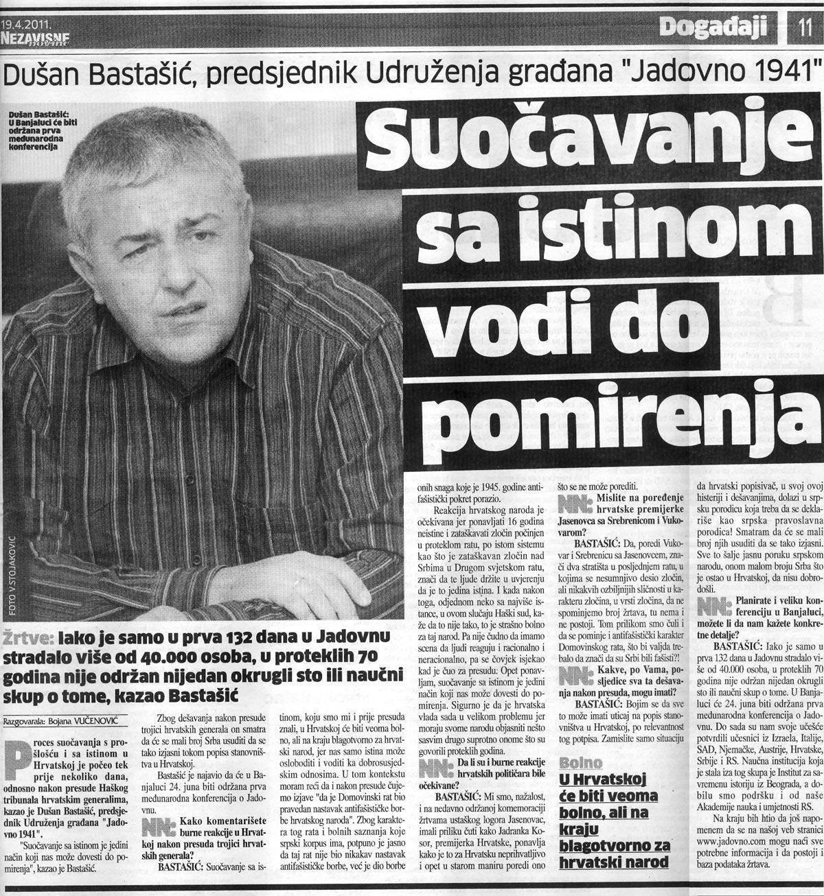Dušan Bastašić: Suočavanje sa istinom vodi do pomirenja