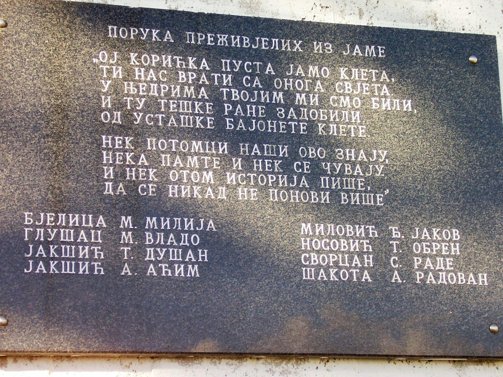 Poruka preživjelih iz jame na spomeniku iznad Koritske jame